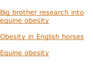 Big brother research into equine obesity  Obesity in English horses  Equine obesity